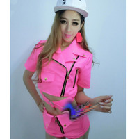 Fashion Costume Ds Dj Female Singer Clothing Neon Fenpi Shorts Dance Costume Beyonce Stage Costumes for Singers Clothes 2018