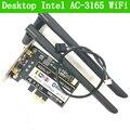 Novo intel 3165 2.4g/5g dual band sem fio ac-3165 3165NGW NGFF Cartão 433 Mbps Wi-Fi Bluetooth BT 4.0 Ethernet Sem Fio área de trabalho
