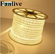 100M Fanlive 2835 SMD Led Strip Light 180LEDS/M Tiras Led Tape Waterproof Ip67 Neon Flex AC 220V Living Room Decoration