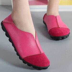 Image 4 - Zapatos planos de piel de vaca auténtica para mujer, mocasines suaves de talla grande 41 43, calzado antideslizante de superestrella