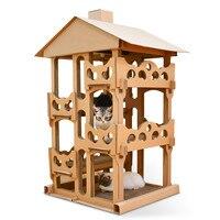 Pet cat toy cat scratch board, corrugated paper cat house four layer cat villa diy, give cat grass
