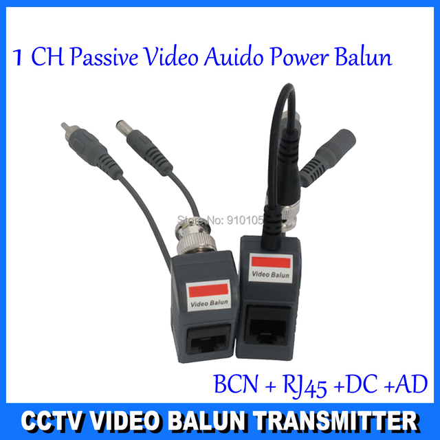 CCTV Camera Audio Video Balun Transceiver BNC UTP RJ45 Video Balun with Audio Video and Power over CAT5/5E/6 Cable  DS-UP013C