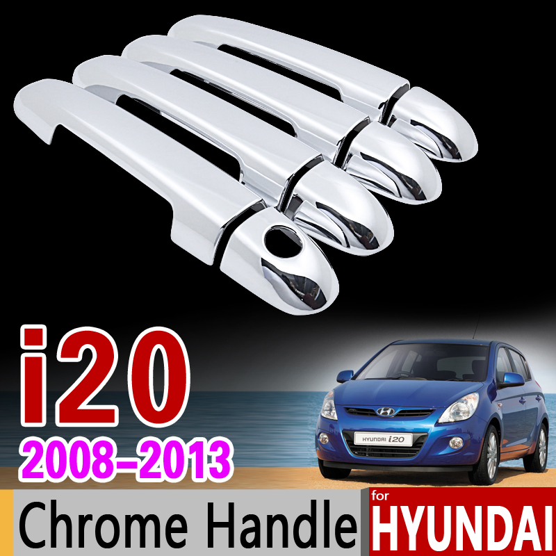 for Hyundai i20 2008 - 2013 PB Chrome Door Handle Cover Trim Set 2009 2010 2011 2012 Car Accessories Stickers Car Styling for nissan qashqai 2008 2009 2010 2011 2012 2013 car inner decoration trim