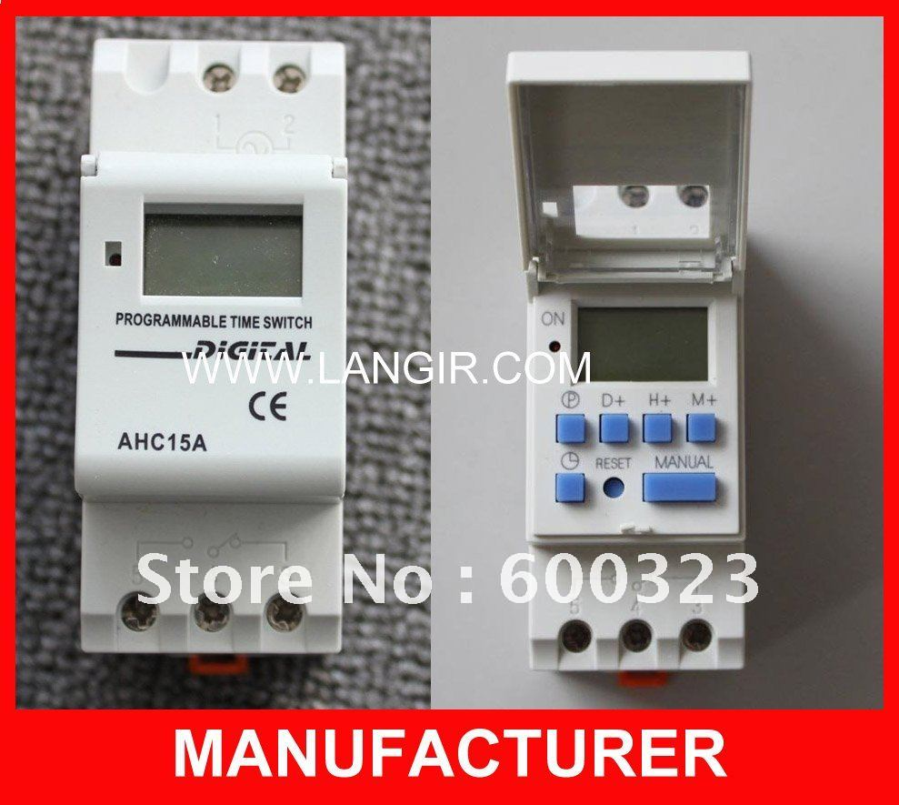 Free Shipping DIN RAIL DIGITAL PROGRAMMABLE TIMER SWITCH 250VAC 16A used for corridor <font><b>lighting</b></font> or Staircase <font><b>Lighting</b></font>