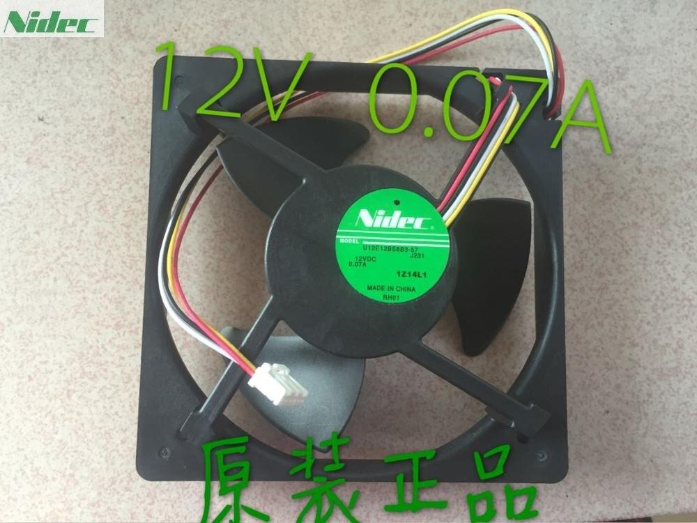 Original NIDEC U12E12BS8F3-57 J232 12v 0.06A 125*125*35mm Mute waterproof cooling fan