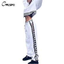 CWLSP Women Long Pants Side Cross Lace up Patchwork Sexy Sportswear Pants High Waist Drawstring Women pantalon femme QA1591