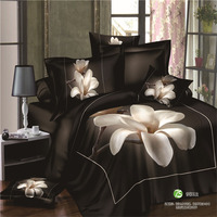 Luxury Brand 100 Cotton Black White Flower 3d Bedding Sets 4pc Queen King Size Bed Duvet