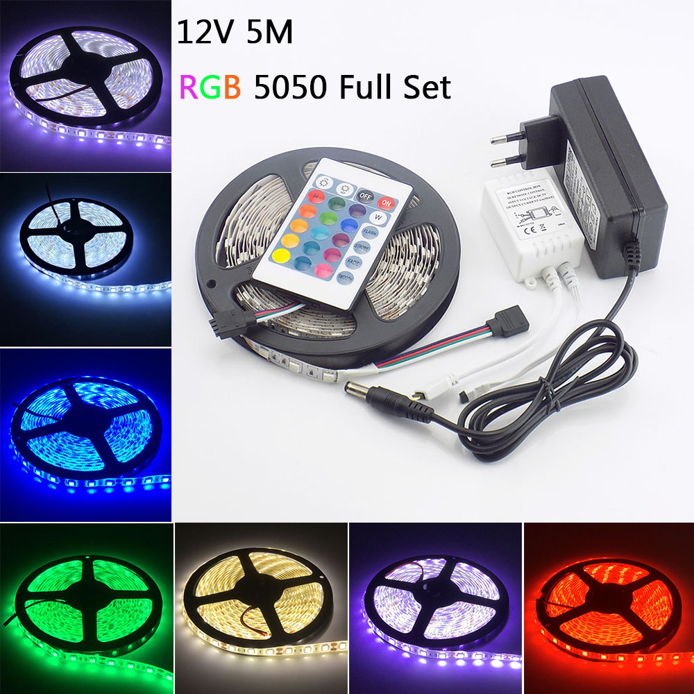 5M Waterproof 5050 RGB LED Strip 12V LED Tape Light with 24 keys Remote Controller 3A Power Adapter Ledstrip for Home Decoration