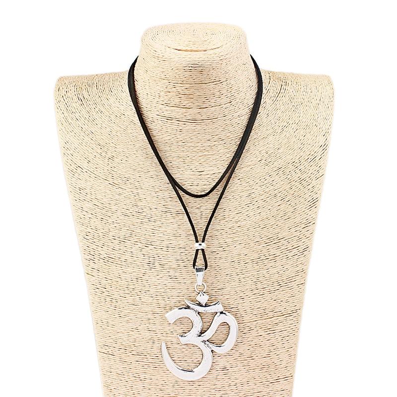 1pcs Antique Silver Abstract Metal Om Ohm Aum Symbol Yoga Buddhist Charm Pendant Velvet Cord Necklace Jewelry