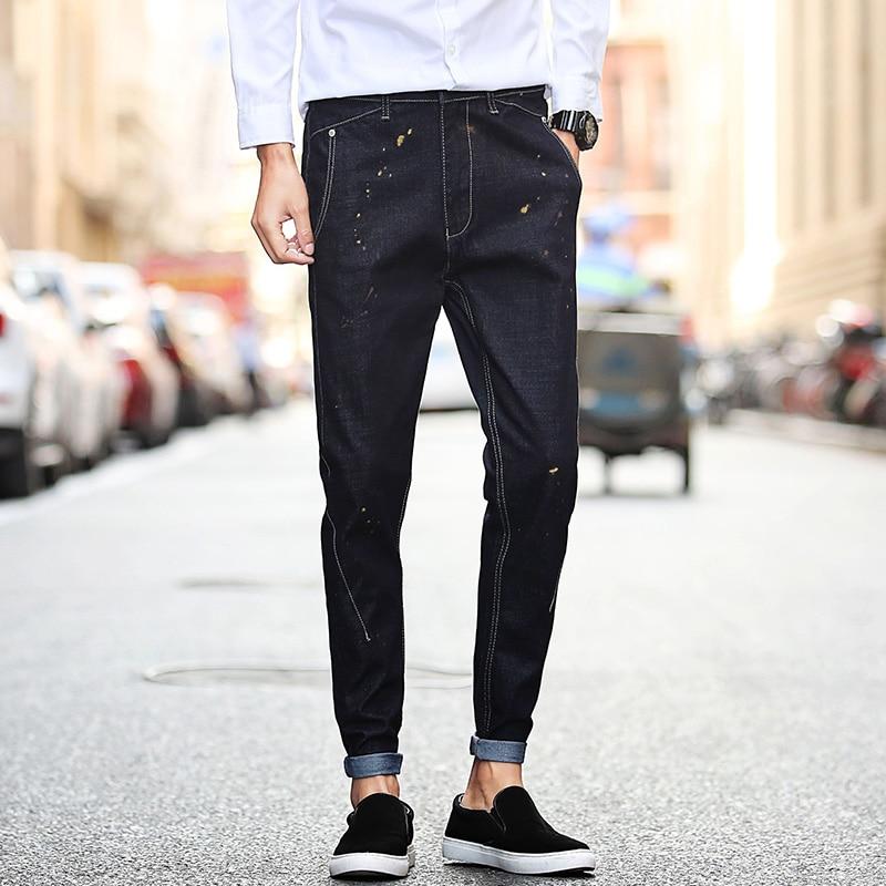 ФОТО New Fashion Designs Men's Denim Pants Paint Dots Dark Blue Slim Fit Jeans Men Casual Pant Fashion Mens Biker Jeans Male Trousers