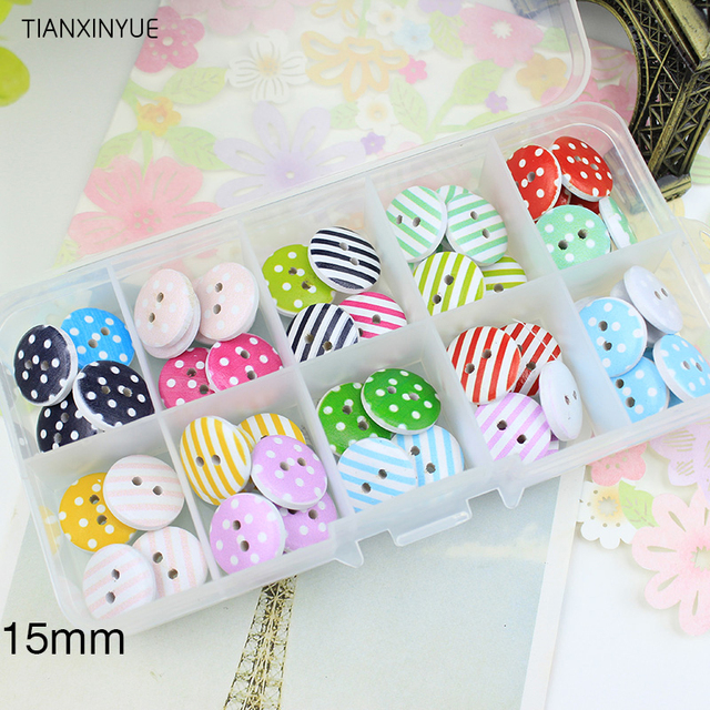 12 style mix , 100 pcs Striped button, Print 2 Holes Wooden Buttons 15mm Sewing Scrapbooking Crafts,Clothing accessories