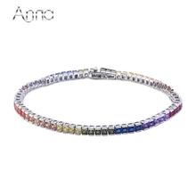 A & N Brazalete Para El Banquete de Boda de Plata de ley 925 Con Corte Princesa Multicolor CZ Crystal Chunky pulseras mujer Boho pulsera