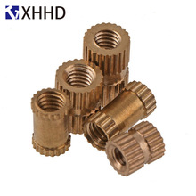 M4 M5 M6 Copper Inserts Double Pass Brass Knurl Nut Round Thread Nutsert Injection Molding Embedded Fastener ID*H*OD 100pcs m3 5 5mm od 5mm brass inserts double pass copper knurl nut embedded fastener