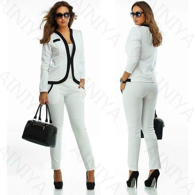556ad618105e0 Blanco nuevo formal Trajes para mujer oficina de negocios Trajes trabajan  desgaste 2 unidades Sets Oficina