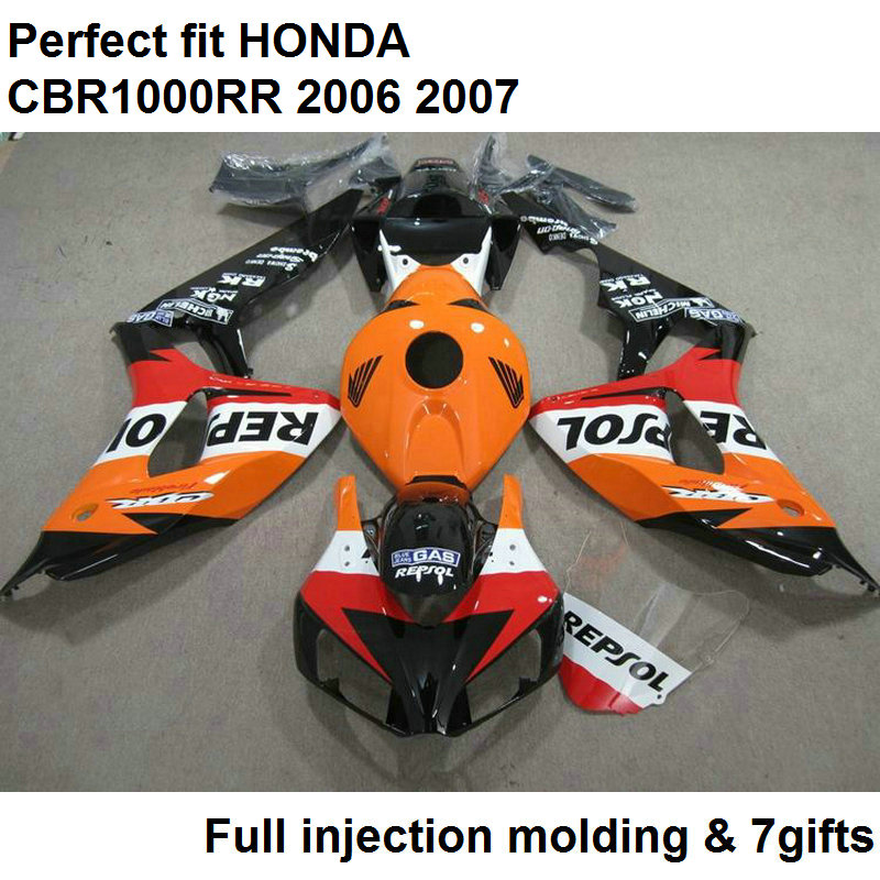 Fit 100% carénages pour Honda injection blakc orange CBR1000RR 2006 2007 carrosserie pièces carénage kit CBR 1000RR 06 07 NV69