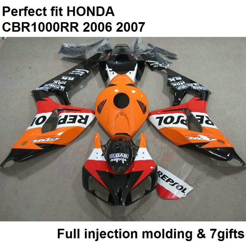 Fit 100% carénages pour Honda injection blakc orange CBR1000RR 2006 2007 carrosserie pièces carénage kit CBR 1000RR 06 07 NV69