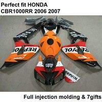 Fit 100% fairings for Honda injection blakc orange CBR1000RR 2006 2007 bodywork parts fairing kit CBR 1000RR 06 07 NV69