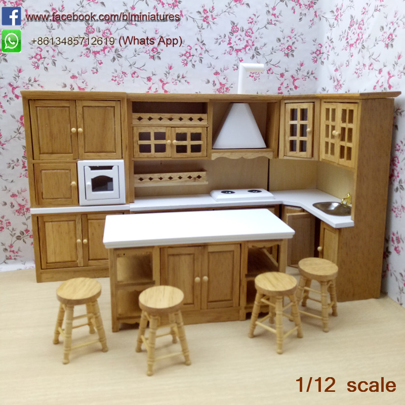 High Quality Dollhouse Miniature Oak Kitchen Set 8 Wooden Kitchen Room Kits Furniture 1 12 Scale