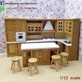 High Quality  Dollhouse Miniature  Oak Kitchen Set/8  Wooden Kitchen Room Kits Furniture 1:12 Scale