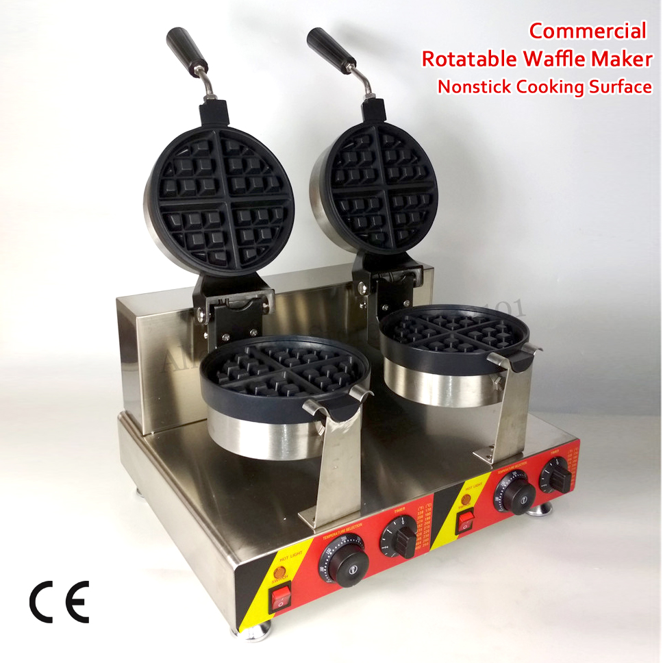 Nonstick Rotatable Waffle Machine Double Pans Round Waffle Baker Electric Heating 3000W 220V 110V for Food Street rotary round waffle baker waffle machine mfx 01 with mechanical control panel