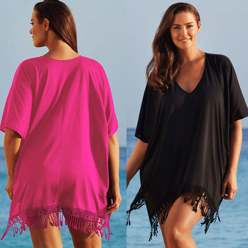 Sexy Women Lady Lace Cover-Ups Kaftan Bikini Swimwear Taseel Cover Up Beach Mini Dress Plus Size