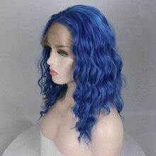 Bombshell Blau Natürliche Welle Kurze Bob Hand Gebunden Synthetische Spitze Vorne Perücke Glueless Hitze Beständig Faser Haar Für Frauen Perücken