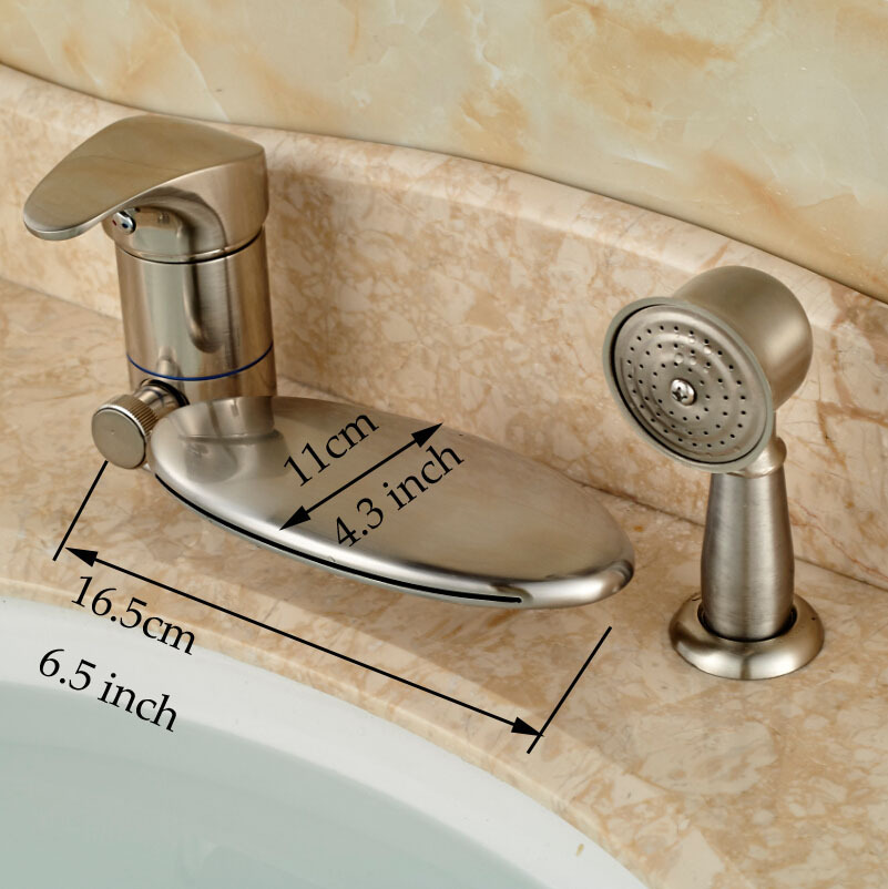 Brushed Nickel Single Handle 3pcs Bathroom Tub Faucet Bathroom Waterfall  Bathtub Shower Mixer Tap W/ LED Light In Shower Faucets From Home  Improvement On ...
