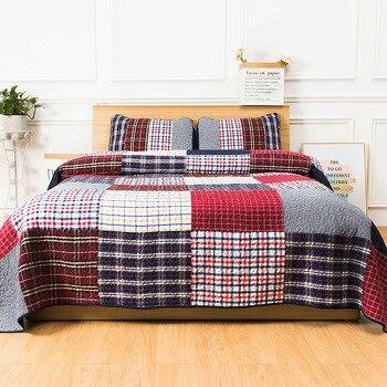 CHAUSUB Cotton Bedspread Quilt Set 3pcs/2pcs Handmade Patchwork Coverlets Lattice Print Quilts Pillowcase King Queen Size