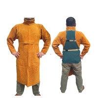 Venta Conjunto de ropa de soldadura de seguridad de manga larga de cuero de vaca delantal de