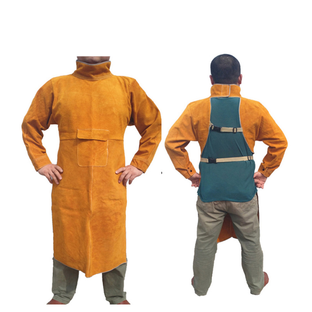 цена на Safety Welding Clothing Set Long Sleeve Cow Leather Apron Protective Soldering Coverall for Men and Welders GM1011