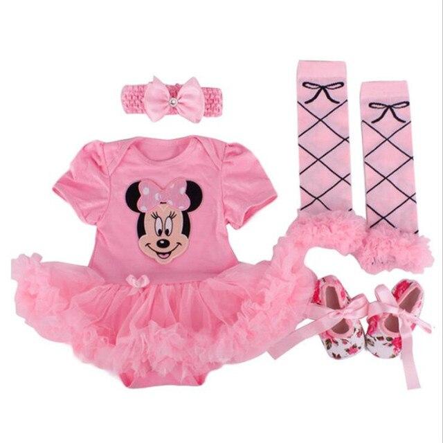 2019 nuevos regalos, trajes de bebé recién nacido, vestido de tutú para niñas de mameluco para niños + diadema + calcetines coloridos + conjunto de zapatos ropa para niños 0-24 m