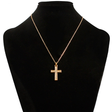 Fashion Rhinestone Cross Pendant Chain Necklace Gold Color Crystal Religious Jewelry Womens Collar FSPXL59