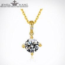 Jewellwang Moissanite Pendants for Women Poker Design 0.5ct Certified Color Jk/vvs Forever 18K Real Yellow Gold Pendant Original
