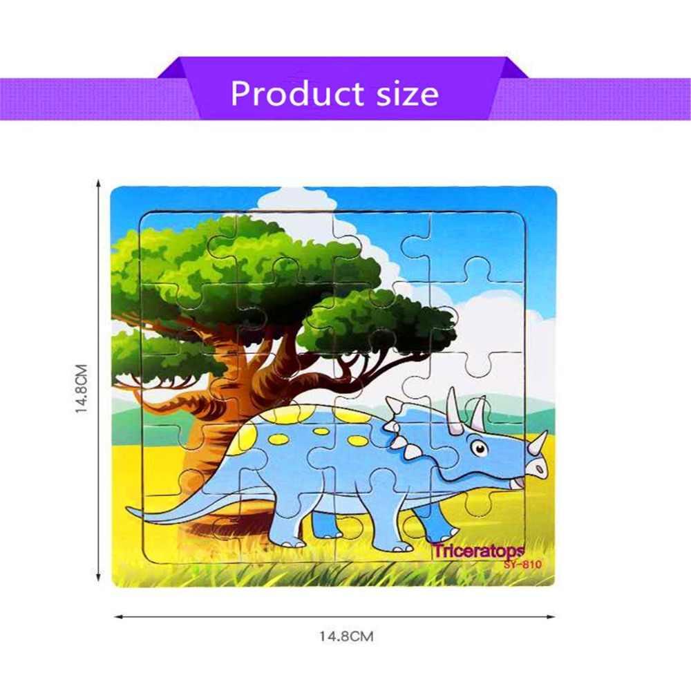 Puzzle Kayu Mainan Anak Bayi Kayu Jigsaw Puzzle Kartun Dinosaurus Hewan Awal Pendidikan Mainan untuk Anak-anak 9/20 Kecil
