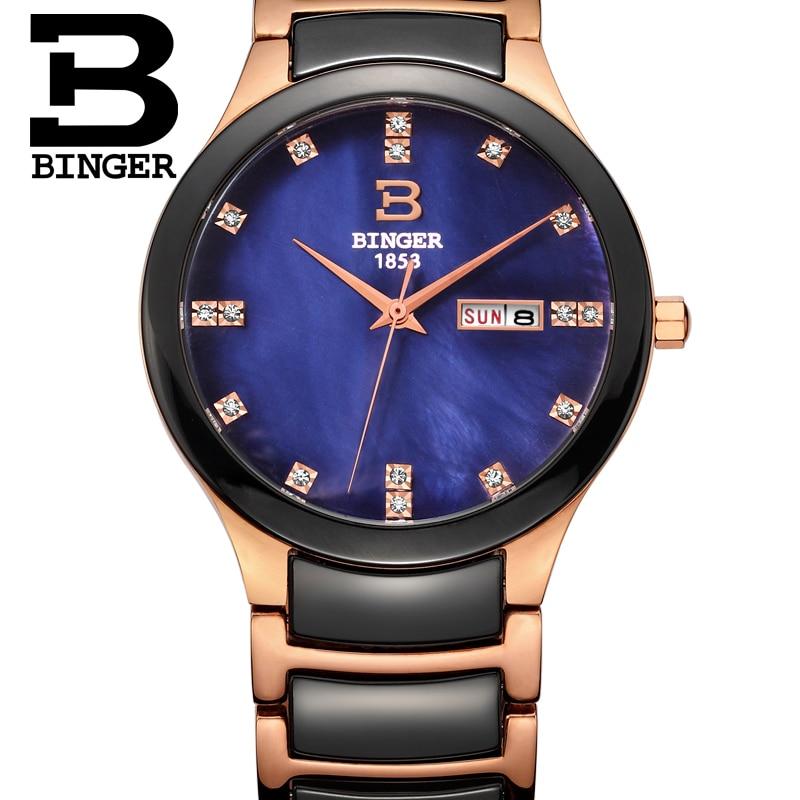 Simple Couples Bracelet Watches Shell Luxury Rhinestone Crystals Men Ceramic Wrist Watch Calendar Week Women Montre Quartz 3Bar