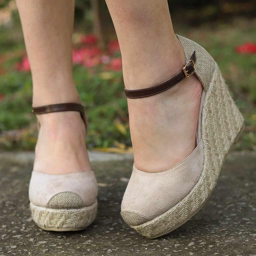 YOUYEDIAN Kadın Moda Akın Takozlar Yüksek Ayak Bileği Açık Sandalet Yuvarlak Ayak rahat ayakkabılar chaussure plaka femme printemps ete #3