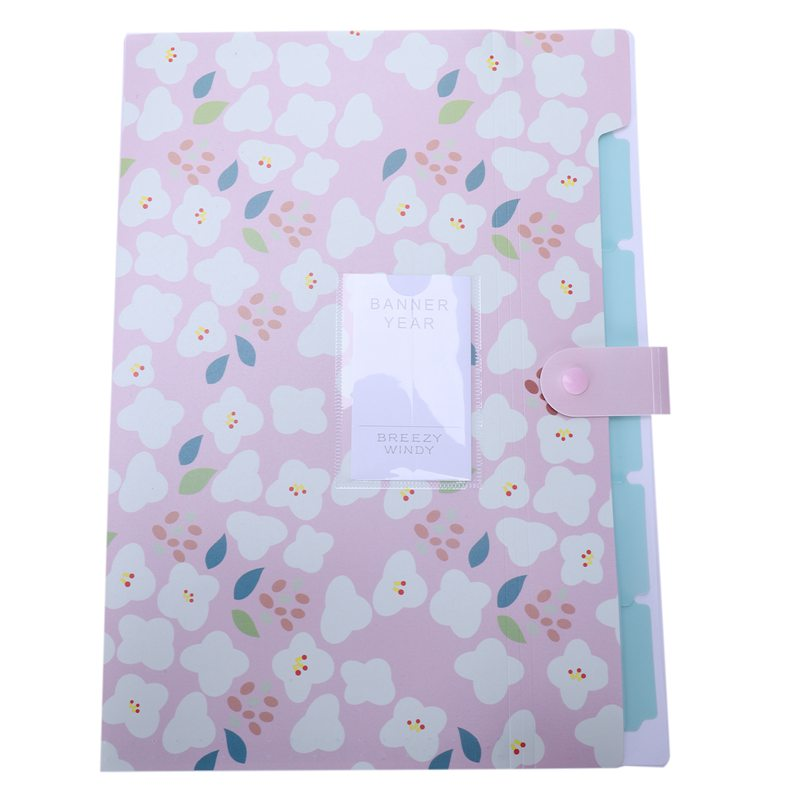 Skydue Floral Printed Accordion Document File Folder Expanding Letter Organizer (Pink)