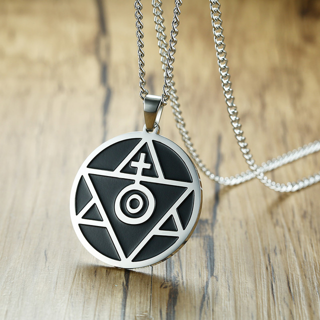 Unique sun cross triangle spiritual belief pendant necklace for men unique sun cross triangle spiritual belief pendant necklace for men stainless steel male jewelry 24 inch aloadofball