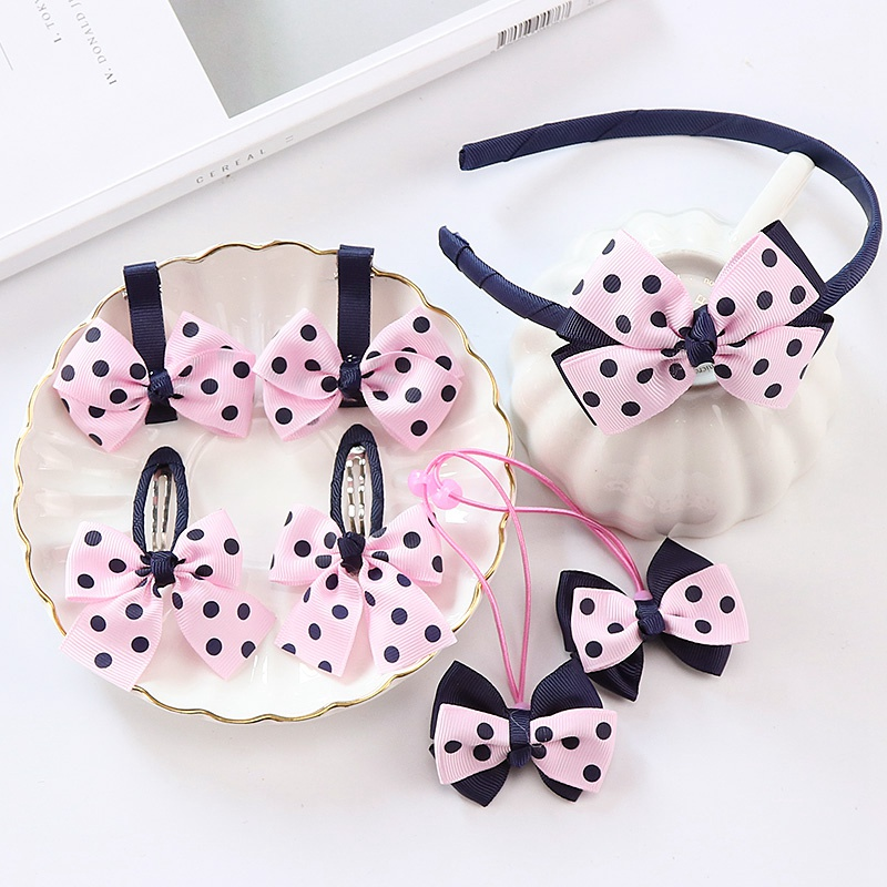Wholesale 7pcs/Set Girl Hair Accessories Cute Dot Bows Elastic Hair Band Princess Hairband Hair Clip Children Headbands Headwear headband baby girl hair bows newborn elastic hair band kids cute children hair accessories ribbon head band with dot 2pcs set