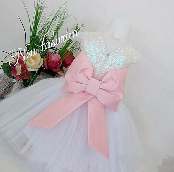 Bling Bling Sequins New flower girl dresses with Bow baby Birthday glitz Party Dress beauty pageant dresses ball gowns new elegant long sleeves knee length blush pink flower girls dresses glitz pageant dresses baby birthday party dress ball gowns