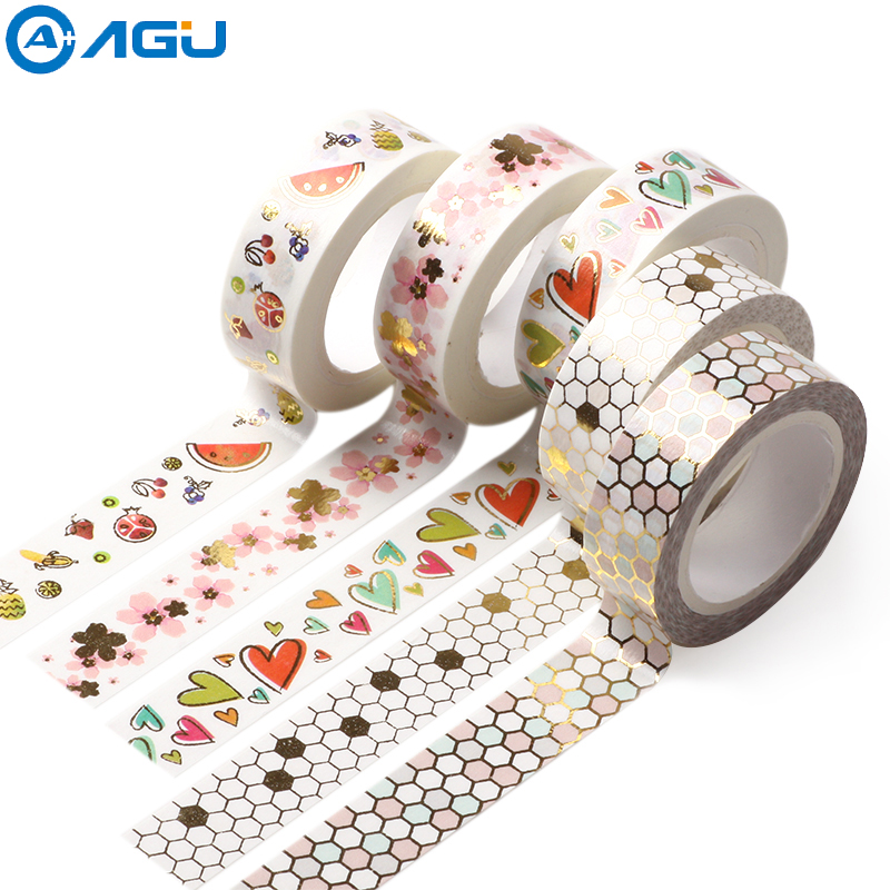 AAGU New Design Bowknot Ball Watermelon Heart Pattern Washi Tape Decorative Adhesive Paper Masking Tape For DIY Planner Making aagu new arrival 15mm 5m 20pcs lot pineapple flamingo watermelon washi tape adhesive masking tape diy decorative paper tape