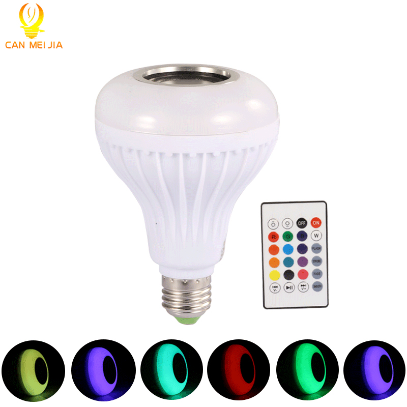 CANMEIJIA  Led Bulb E27 110V 220V  Bluetooth Speaker Bulbs Lamp  Music Playing  Dimmable Light Spotlight +24 Keys Remote Control keyshare dual bulb night vision led light kit for remote control drones