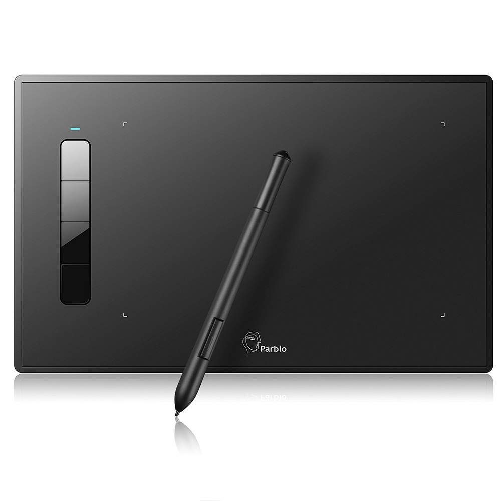Parblo Island A609 9x 6 inches Graphic Drawing Tablet with Battery free Pen 5080 LPI 2048