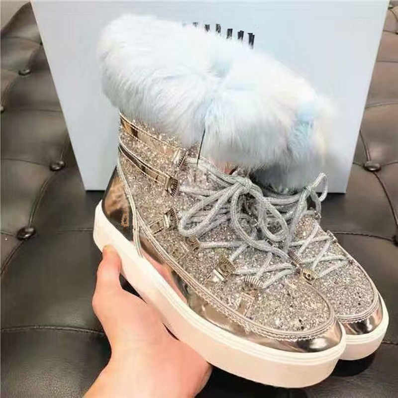 2019 Winter Fashion Leather Wool Snow Boots Bling Bling Glitters Lace Up Fur  Winter Shoes Woman 79e5dcaf1815