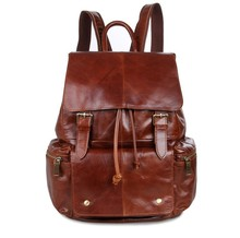 Maxdo High Quality Vintage Unisex Brown Women Men 100% Guarantee Real Genuine Leather Backpack Men Travel Bag #M7249