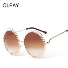 2019 Summer Retro Mirror Sunglasses Round Big Size Oversized Lens Women Brand Designer Metal Frame Lady Cool Sun Glasses UV400