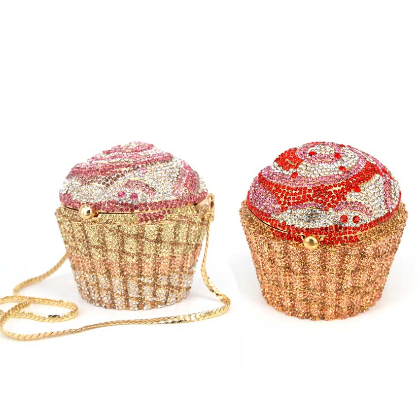 Fashion Cupcake Wedding Of High-grade Hot Drilling Dinner Crystal Clutch Bag Red Cakes Evening Bags Stylish Diamond Party Bag