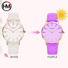 Creative Women Leather Watches Colors Change Under The Sun Luxury Brand Ladies Wristwatches Female Quartz Clock Relogio Feminino