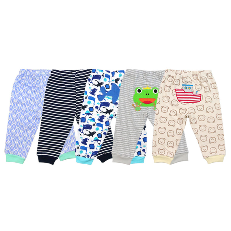 0-6 months baby 5 pcs/set pants Long Trousers girls leggings newborn clothes boy 3 embroidery+2 printer cuff style pant(China)