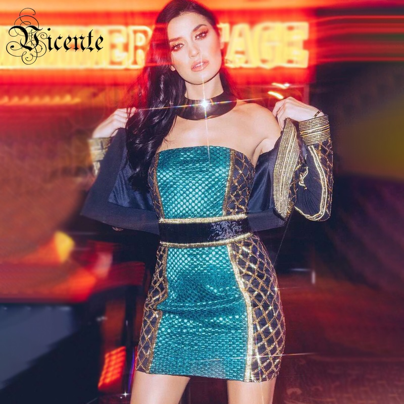 Nu Impression Rouge Block Manches Bandage Bustier Sexy Chic Robe Vicente Nouveau Club D'huile Conception Color Mini Celebrity Dos 2019 turquoise Sans Party TPOWRXq